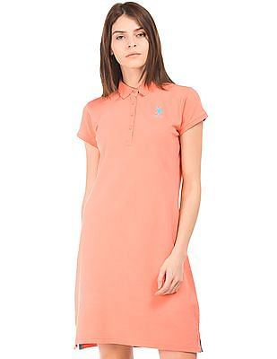 U.S. Polo Assn. Women Solid Polo Collar T-Shirt Dress