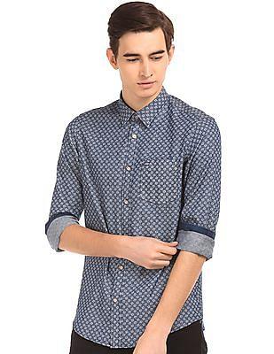 Arrow Sports Printed Slim Fit Chambray Shirt