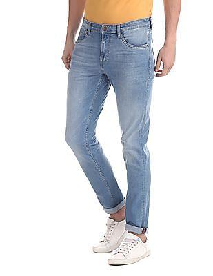 Arrow Sports Blue Mid Rise Stone Wash Jeans