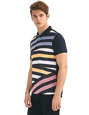 Arrow Sports Striped Front Jersey Polo Shirt
