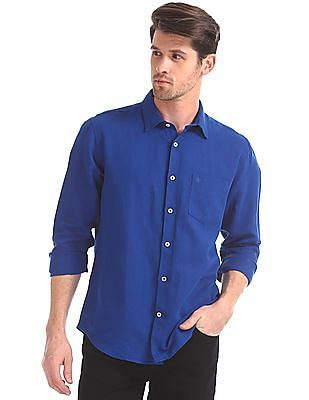 Arvind Modern Slim Fit Solid Shirt