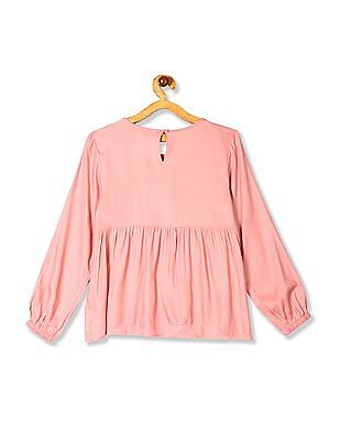 Cherokee Pink Girls Long Sleeve Embroidered Top