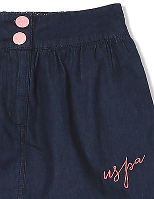 U.S. Polo Assn. Kids Girls Gathered Front A-Line Skirt