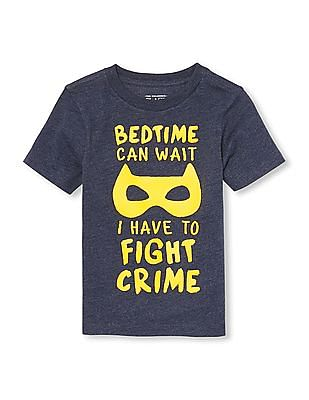 The Children's Place Toddler Boy Short Sleeve 'Bedtime Can Wait' Graphic Tee