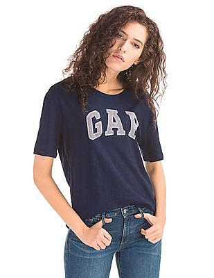 GAP Women Blue Mesh Applique Logo Top