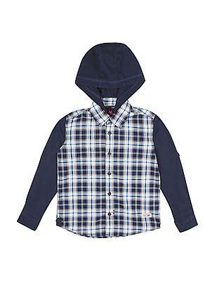 U.S. Polo Assn. Kids Boys Hooded Check Shirt