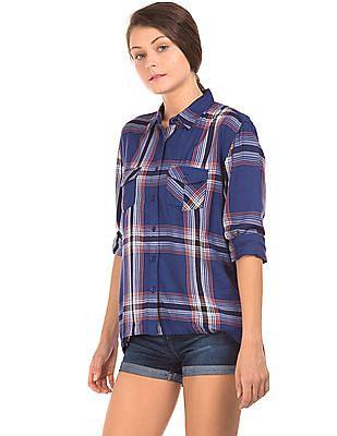 Cherokee High Low Hem Check Boxy Shirt