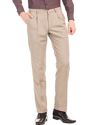 Arrow Sports Pleated Front Regular Fit Trousers