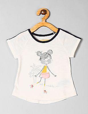 GAP White Toddler Girl Interactive Graphic Short Sleeve T-Shirt