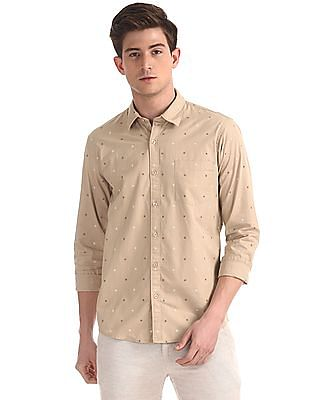 Ruggers Beige Patch Pocket Printed Shirt