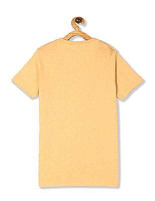 U.S. Polo Assn. Kids Yellow Boys Crew Neck Brand Print T-Shirt