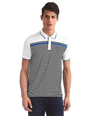 Arrow Sports White Striped Mercerized Cotton Polo Shirt