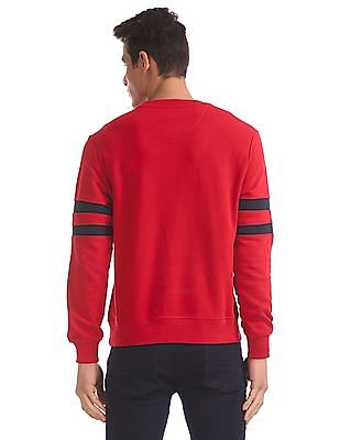 U.S. Polo Assn. Red Striped Sleeve Cotton Sweatshirt