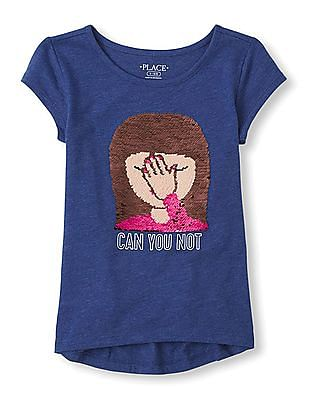 The Children's Place Girls Short Sleeve 'Can You Not' Flip Sequin Emoji Graphic Top