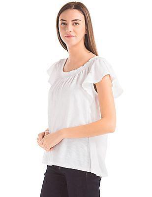 GAP Women White Smocked Flutter Sleeve Top
