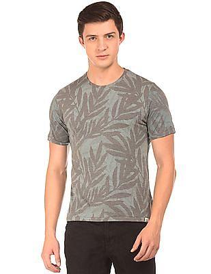 Cherokee Tropical Print Round Neck T-Shirt