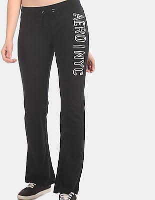 Aeropostale Black Drawstring Waist Brand Embroidered Track Pants