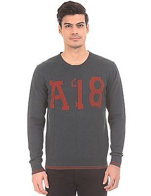 Arrow Sports Crew Neck Patterned Knit Sweater
