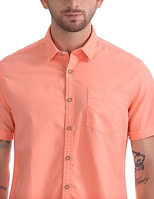 Flying Machine Short Sleeve Solid Shirt