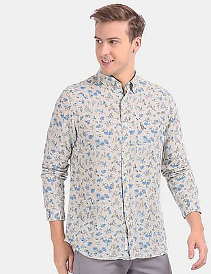 U.S. Polo Assn. Men Grey Allover Floral Print Linen Casual Shirt