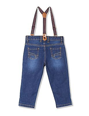 Donuts Boys Stone Wash Jeans With Suspenders