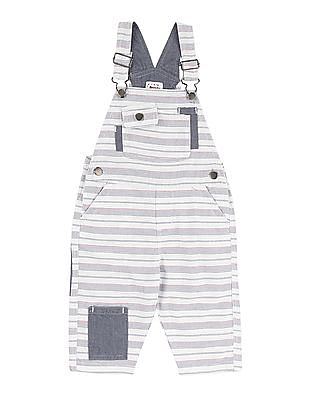 Donuts Boys Cotton Striped Dungarees