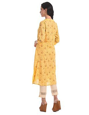 Karigari Yellow Mandarin Neck Printed Kurta