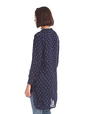 Cherokee High Low Hem Printed Top