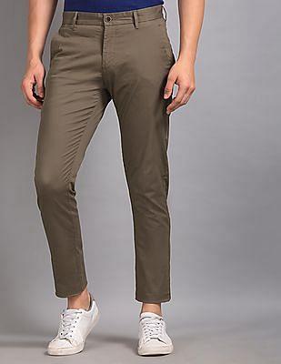True Blue Brown Slim Fit Solid Trousers