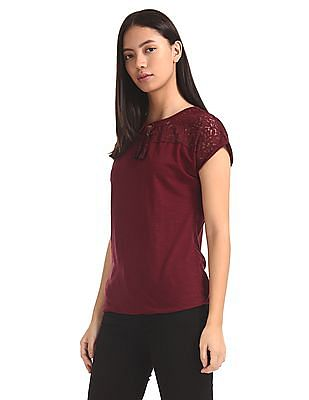Cherokee Red Lace Panel Tie Up Neck Top
