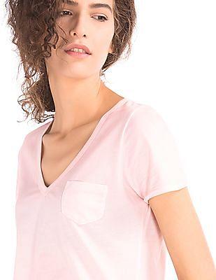 GAP Women Pink Vintage Wash V-Neck Tee