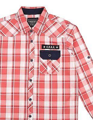 Cherokee Boys Western Yoke Check Shirt