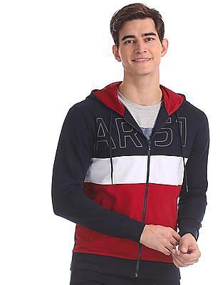Arrow Sports Blue Hooded Cut And Sew Panel Sweatshirt