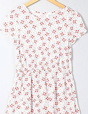 GAP Girls White Print Cinched Waist Dress