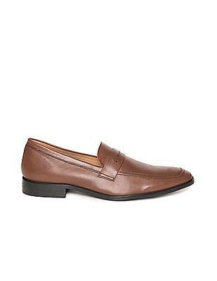 Arrow Square Toe Leather Slip On Shoes