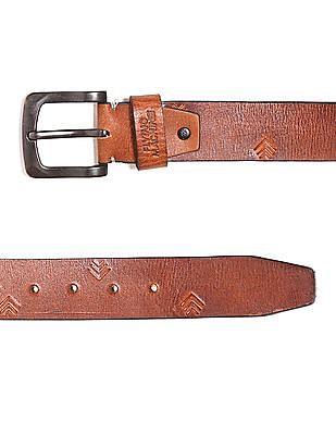 Flying Machine Debossed Leather Belt