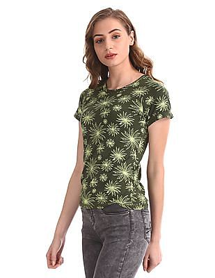 Cherokee Green Contrast Print Cotton T-Shirt