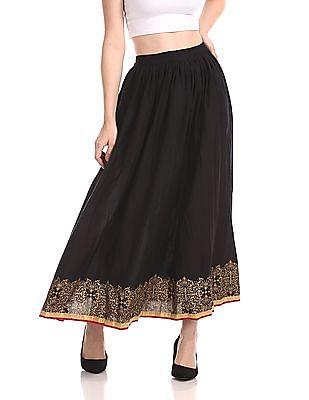 Bronz Flared Maxi Skirt