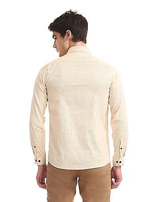 Excalibur Beige Super Slim Fit Printed Shirt