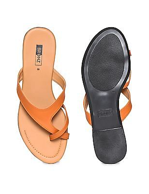 Bronz Crossover Strap Solid Sandals