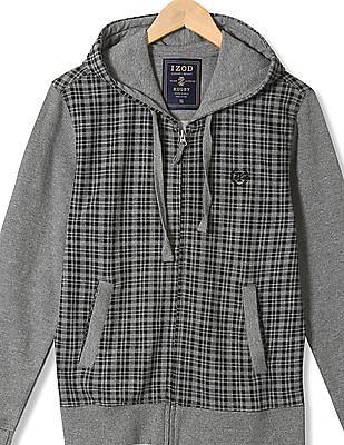Izod Check Hooded Sweatshirt