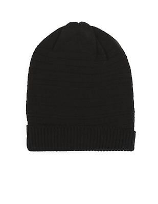 Unlimited Black Patterned Knit Beanie