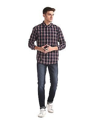 Aeropostale Blue Rounded Cuff Check Shirt