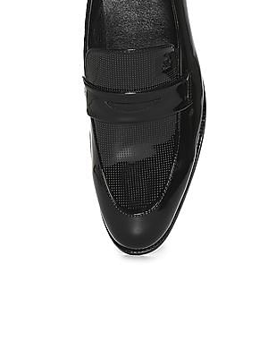 Arrow Perforated Leather Penny Loafers
