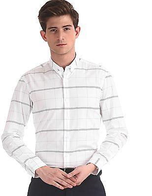 Arrow Newyork White Button Down Collar Check Shirt