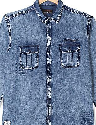 Ed Hardy Long Sleeve Washed Denim Shirt