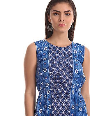 Bronz Blue Allover Print Maxi Dress