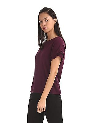 Elle Studio Purple Ruffled Sleeve Solid Top