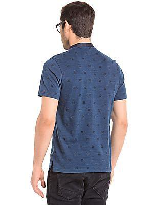 True Blue Regular Fit Geometric Print Polo Shirt