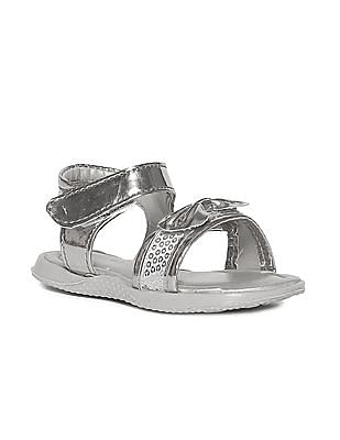Donuts Silver Girls Embellished Metallic Sandals